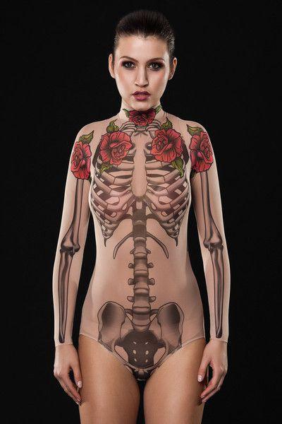 Halloweenkostüme - SKELETON Halloween Netz Tattoo Bodysuit - ein Designerstück von dirrtytownclothing bei DaWanda