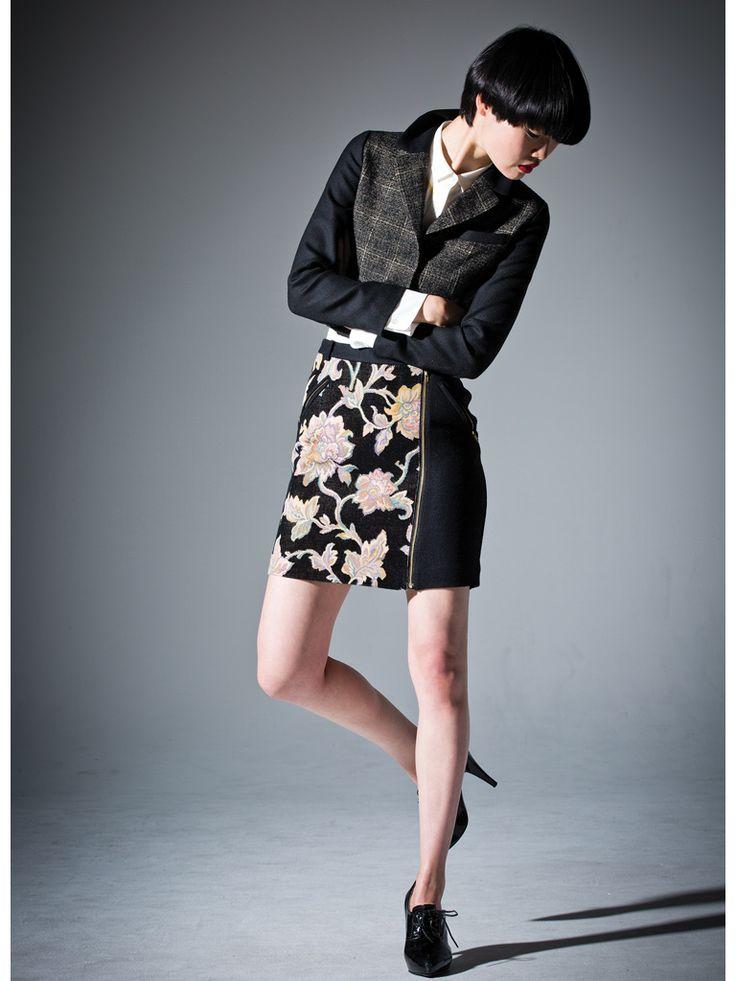 Jacquard and Black velveteen zipper skirt #short #skirt