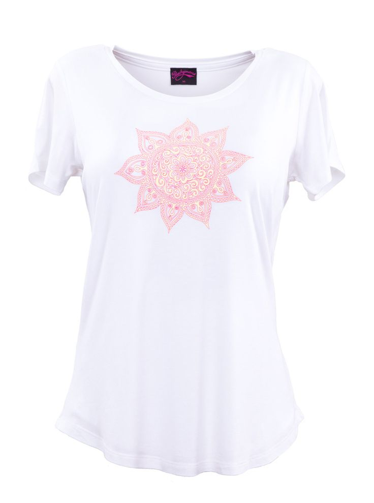 Meet our NEW Printed Tees! White short sleeve breastfeeding t-shirt with a classic round neckline and Mandala print Clever double layered front with side openin