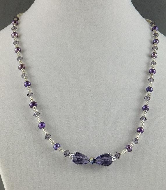 Swarovski crystal, freshwater pearl necklace & earrings
