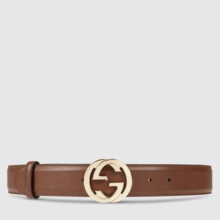 Leather belt with interlocking G