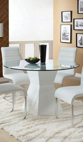 White Round Kitchen Table best 25+ glass dining table set ideas only on pinterest | glass
