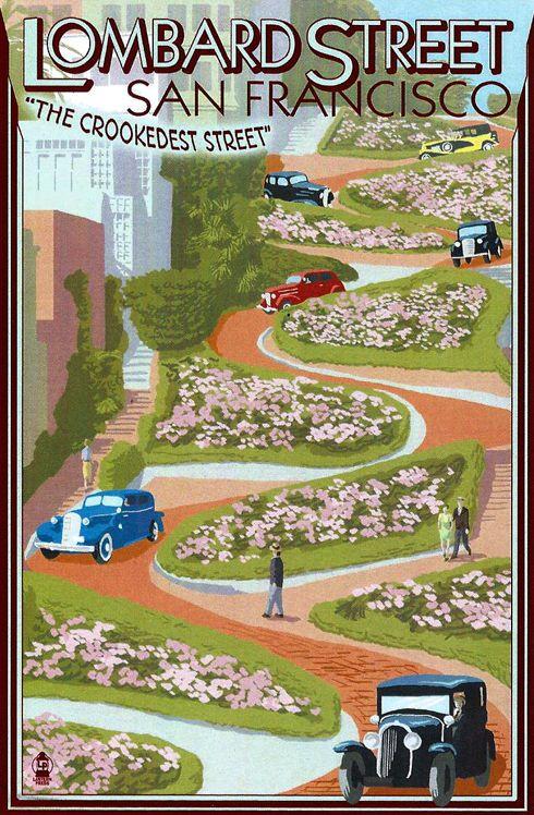 Vintage San Francisco Postcard Lombard Street. LOVE this street!!