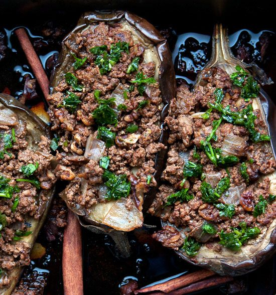 Eggplant Stuffed with Lamb and Pine Nuts from Jerusalem: A Cookbook