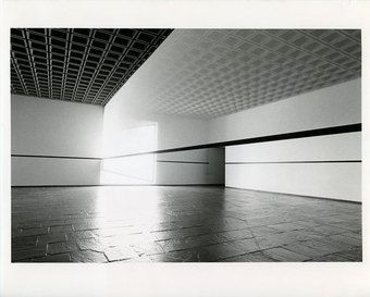 Robert Irwin (b.1928), Scrim veil—Black rectangle—Natural light, Whitney Museum of American Art, New York, 1977. Cloth, metal, and wood, 144 × 1368 × 49 in. (365.8 × 3474.7 × 124.5 cm). Whitney Museum of American Art, New York; gift of the artist 77.45. © Robert Irwin. Photograph © Warren Silverman, 1977
