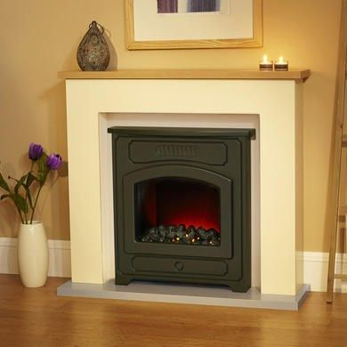 10f5148286c Suncrest Thornton Electric Fireplace Suite in Stone with Oak Top ...