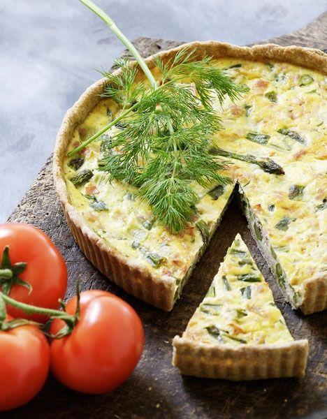 Asparges-skinketærte