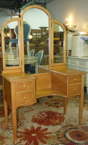 Marva's Place Used Furniture & Consignment Store | Birds Eye Maple Vanity  with Mirror. NOW