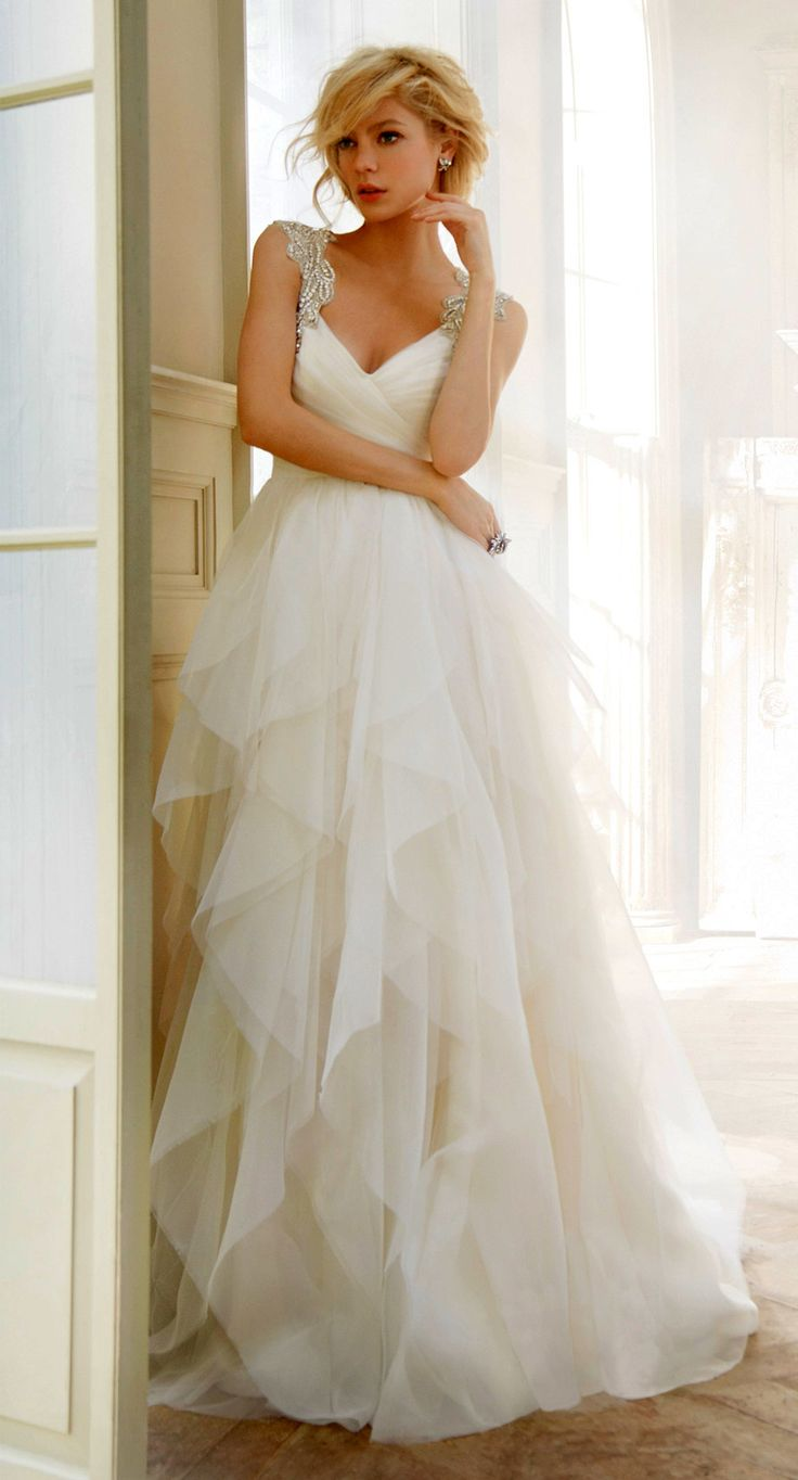 Hayley Paige Wedding Dress with Crystal Straps. Would love it more if it were lace straps