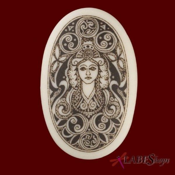 Handmade Celtic Cerridwen Goddess of Nature Oval Porcelain Pendant deqa75