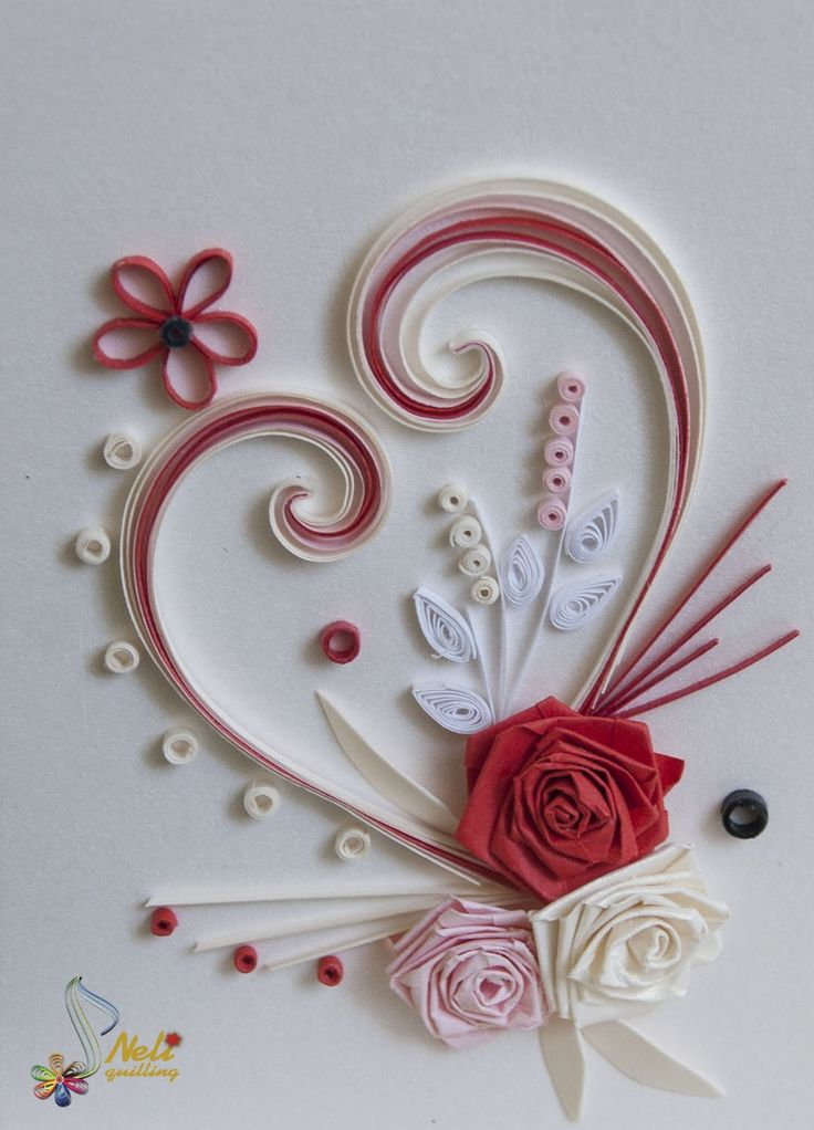 Neli quilling art quilling cards with love for Paper quilling paper