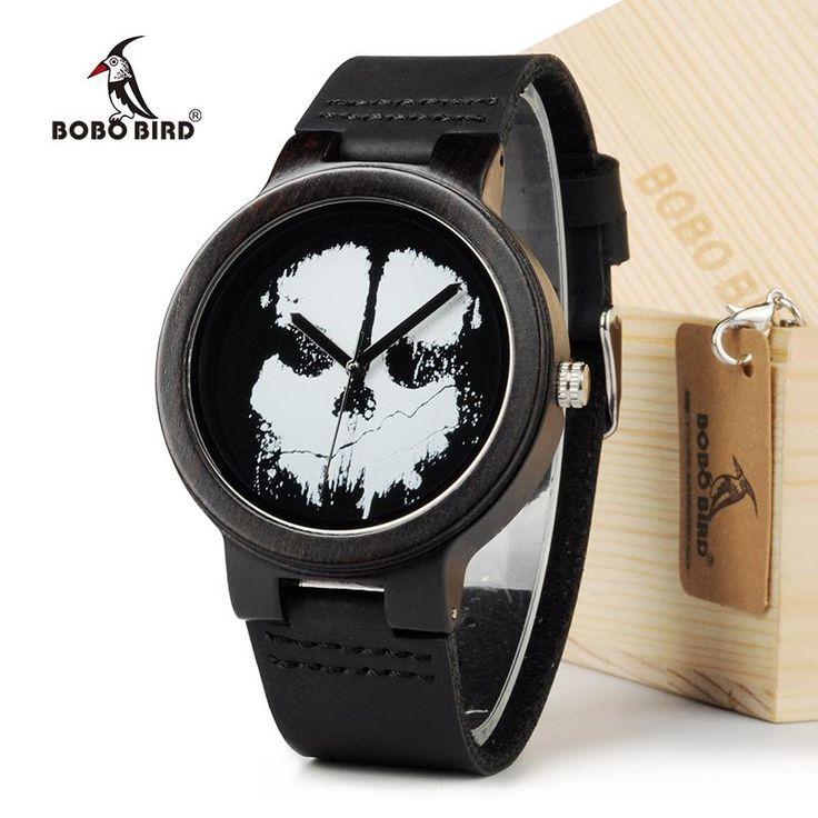 Ebony black wood skull watches for men