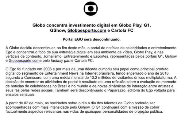 Após 11 anos, Globo decide acabar com o site EGO