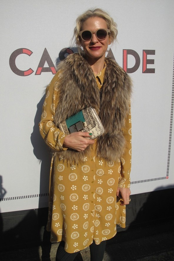 Deborah Brett in a Boden dress, vintage fur, Anya Hindmarch bag and ASOS sunglasses.