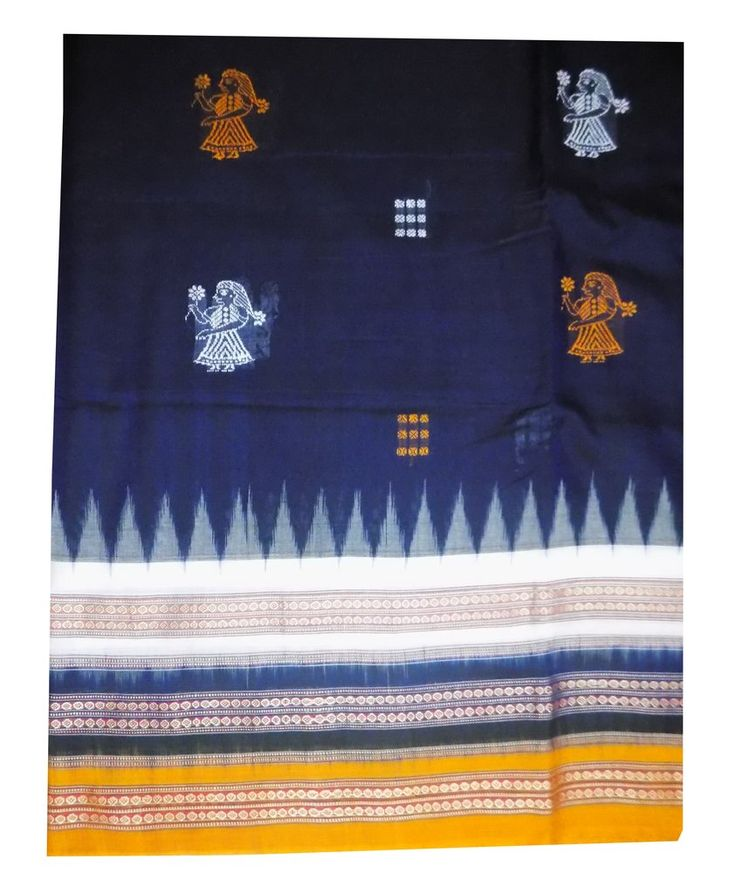 Exclusive Bomkai Cotton Saree with Blouse Piece, Dolls Design – OdiKala