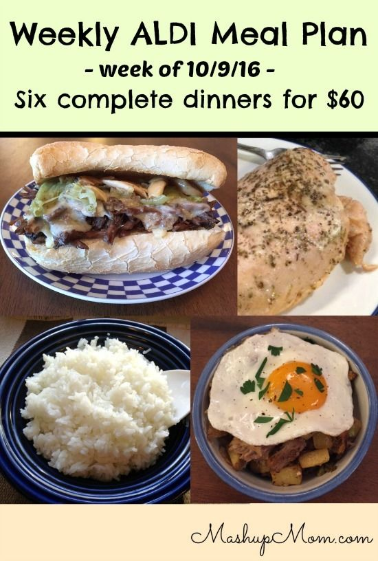 Easy weekly ALDI meal plan week of 10/9/16 - 10/15/16 -- Six complete dinners for four for $60, including sides! http://www.mashupmom.com/easy-weekly-aldi-meal-plan-week-10916-101516/