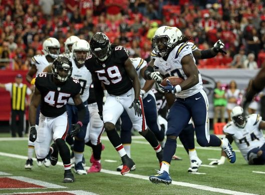 Chargers vs. Falcons:     October 23, 2016  -  33-30, Chargers  -      Oct 23, 2016; Atlanta, GA, USA; San Diego Chargers running back Melvin Gordon (28) scores a rushing touchdown in the first quarter of their game against the Atlanta Falcons at Georgia Dome. Mandatory Credit: Jason Getz-USA TODAY Sports