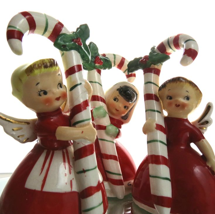 VINTAGE 1956 NAPCO CANDY CANE CHRISTMAS ANGEL BELLS