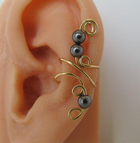 Ear Cuff Wrap Cartilage Non Pierced Swarovski by RazzleDazzleMe, $9.00