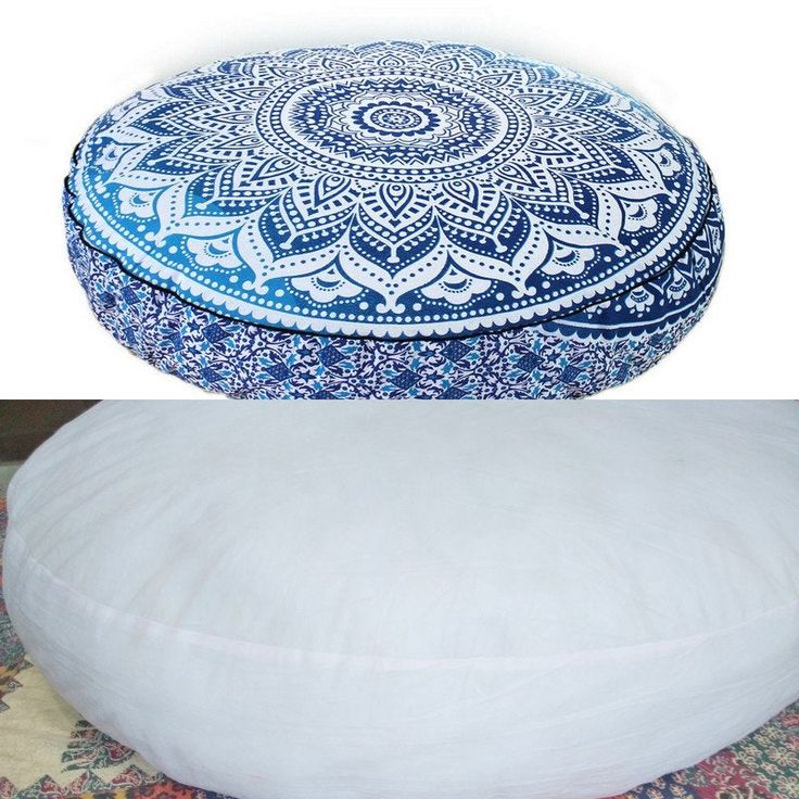 "35"" Indian Large Round Floor Cushion Cover Peacock Mandala"