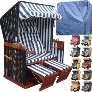 XINRO® - XY-01 - Garten Strandkorb inkl. Luxus Strandkorb Schutzhülle u. 4x Kissen, Blau-gestreifter Stoff - braunes Holz, Nordsee Strandkorb Form: Amazon.de: Garten