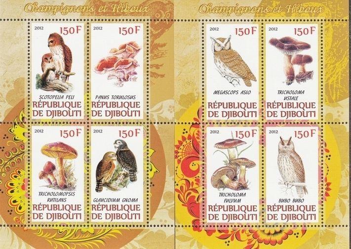 Djibouti 2012 Animal Bird Owl Mushroom Plant Fungi 2 M/S Stamps MNH perforated