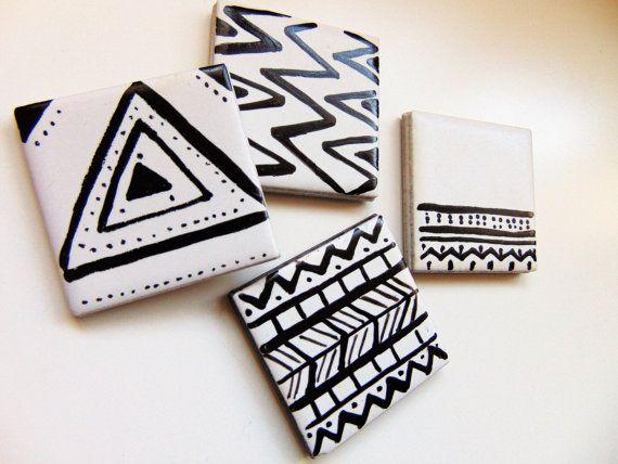 Set of Aztec magnets by Vivi Lake https://www.etsy.com/uk/listing/497671967/aztec-monochrome-black-and-white-set-of