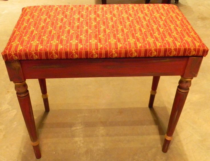 Bright Red Distressed Bench Painted With Real Milk Paint With Yellow  Details. Www.facebook