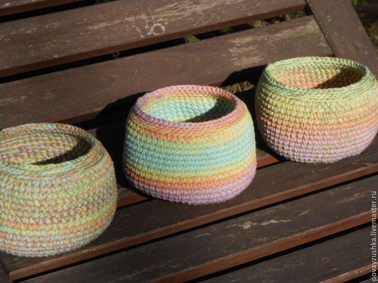 """Купить набор корзинок коробочек - маленькие вязаные """"Градиент"""" - разноцветный, коробочка, коробка для мелочей, корзинка"""
