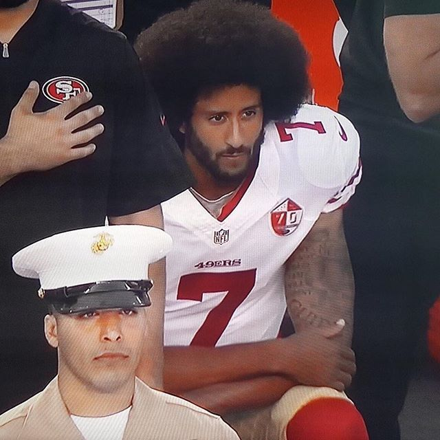 Colin Kaepernick - sorry this picture captures why I do. otherwise agree with Kaeperick and others in NFL are doing.
