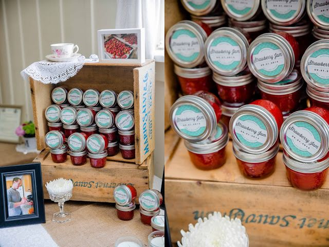 Spread the Love  Wedding Favors // Homemade strawberry jam in mason jars with custom labels.