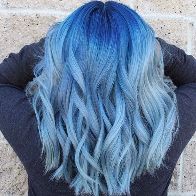 Curly hair dyed blue by joicointensity