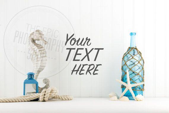 Styled Stock Photography / Beach, Shells, Ocean, Blue, Star Fish, Rope, Lantern, Nautical / header hero image / product background / BN003