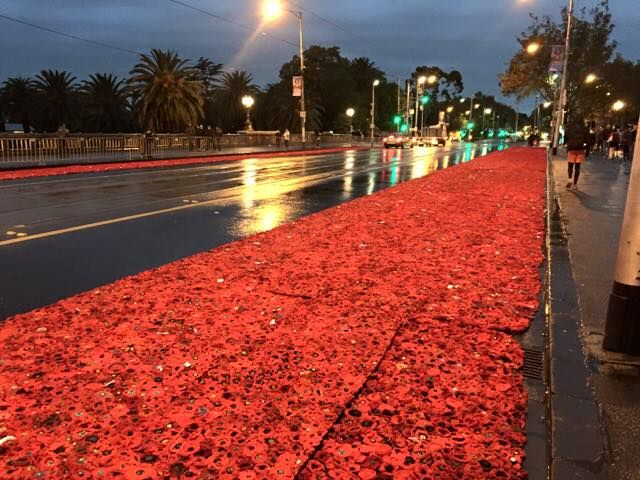 Panels moved during the Dawn Service from Federation Square to Princess Bridge. The ANZAC marchers proceeded over the bridge and through the field of poppies.