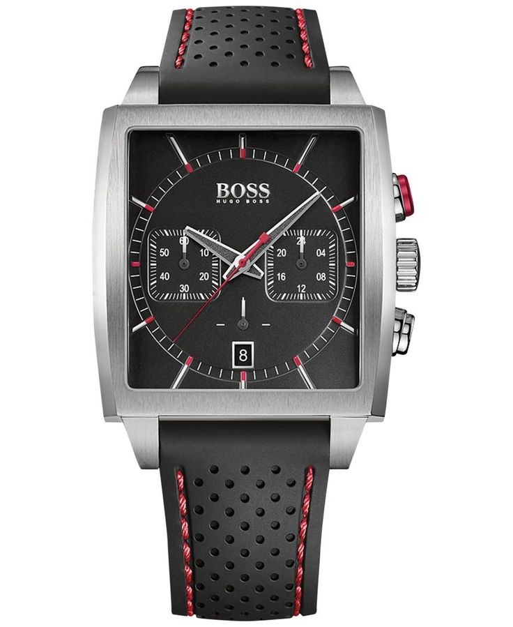 Durable strength meets exceptional style with this uniquely designed rectangular watch by Hugo Boss. | Black silicone strap | Rectangular stainless steel case, 39x40mm | Black chronograph dial silver-