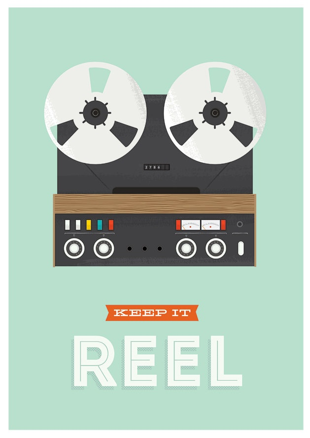 Motivational poster, inspirational print, retro poster, hipster, reel to reel, music, typography poster - via Etsy.