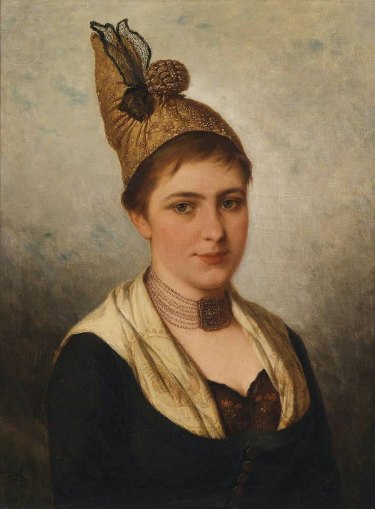 Junge Frau in Tracht mit Goldhaube 1917 by Austrian Painter Josef Büche 1848 -1917  http://commons.wikimedia.org/wiki/File:Josef_B%C3%BCche_Junge_Frau_in_Tracht_mit_Goldhaube.jpg
