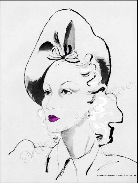 """Fashionable Caroline Reboux Hat  Designed  in 1946 - Illustrated by """"Jeb"""" - INSTANT DOWNLOAD"""