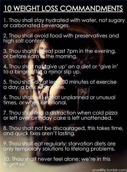 Weight Loss Commandments