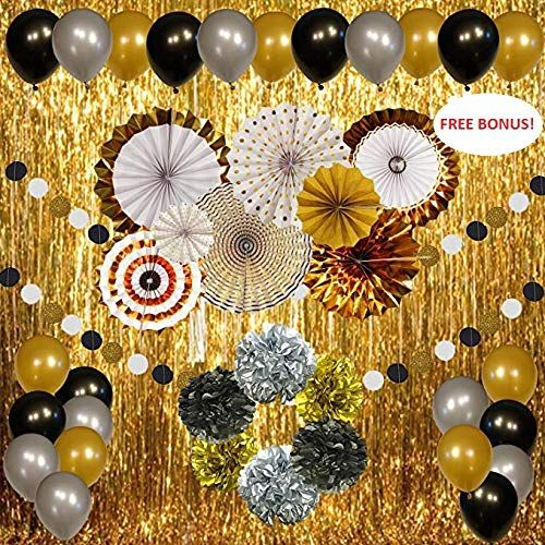 New Year's Eve Party Decorations Gold Silver Black Suppli ...