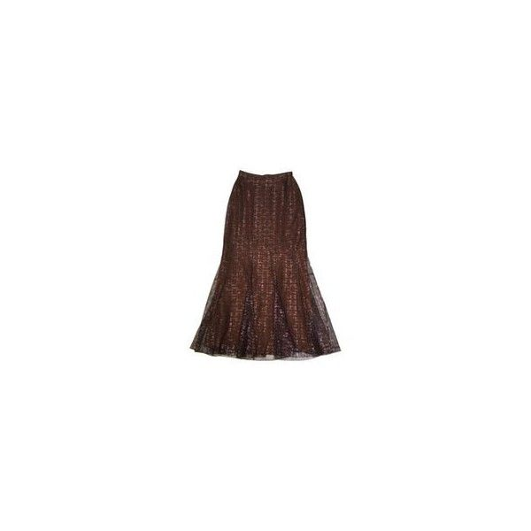 Skirt CHANEL ❤ liked on Polyvore featuring skirts, long maxi skirts, brown maxi skirt, evening skirts, lace skirt and long lace skirt