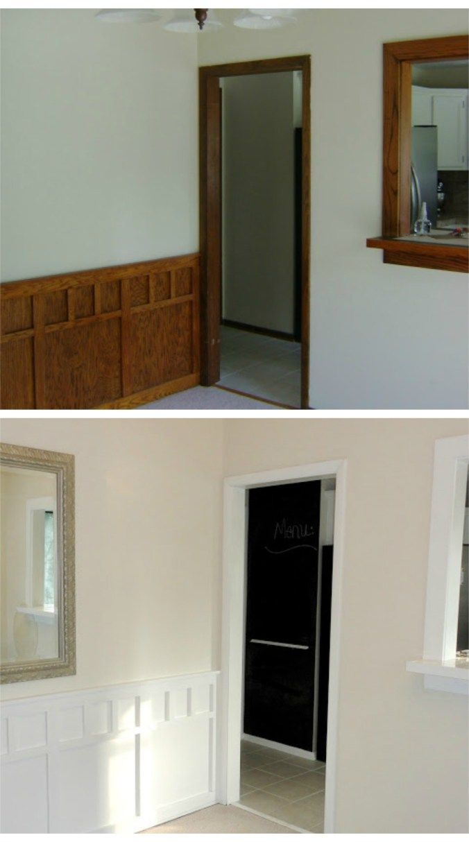 Before and after, ideas to update dark wood trim and wall panelling with white paint
