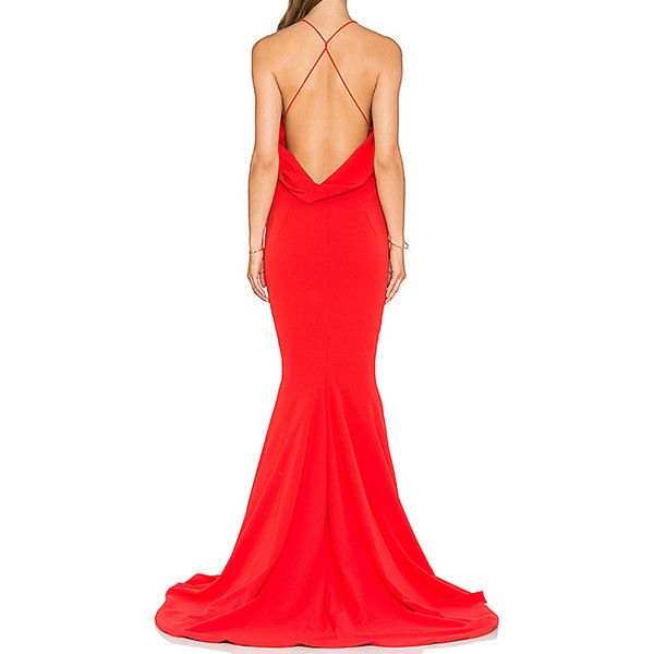 Red V-neck Ruched Backless Plain Cami Floor Length Dress (37 AUD) ❤ liked on Polyvore featuring dresses, gowns, red backless dress, red gown, red camisole, backless dress and red evening dresses