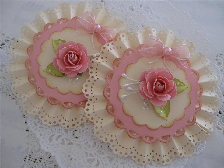 Vintage Lace Shabby Pink Handmade Rose Flower Embellishments for mother's day set of 2