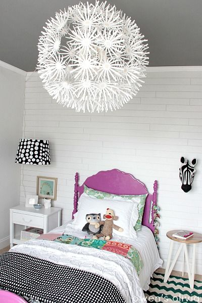 White and Black With a Pop of Purple Girl's Bedroom. #Decor #BlackWhite #Purple