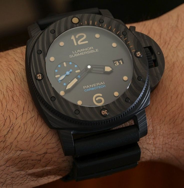 """Panerai Luminor Submersible 1950 Carbotech 3 Days Automatic PAM616 Watch Hands-On - by Ariels Adams - see our hands-on & read more: http://www.ablogtowatch.com/panerai-luminor-submersible-1950-carbotech-3-days-automatic-pam616-watch/ """"One of the more interesting new-for-SIHH-2015 watches from Panerai is a timepiece produced from a material originally design for automobile brakes - which certainly isn't metal. The Panerai Luminor Submersible 1950 Carbotech 3 Days Automatic takes the popular…"""
