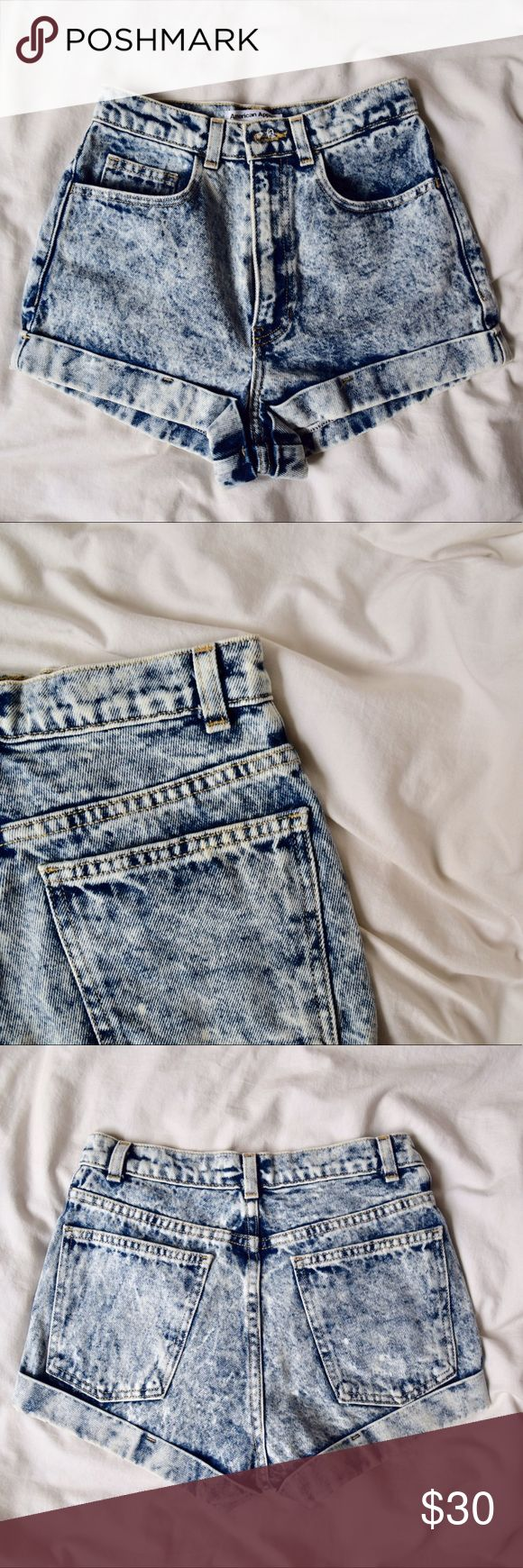 American Apparel Acid Wash Shorts American Apparel shorts  Blue Acid Wash High Waisted  Size 26 American Apparel Shorts Jean Shorts