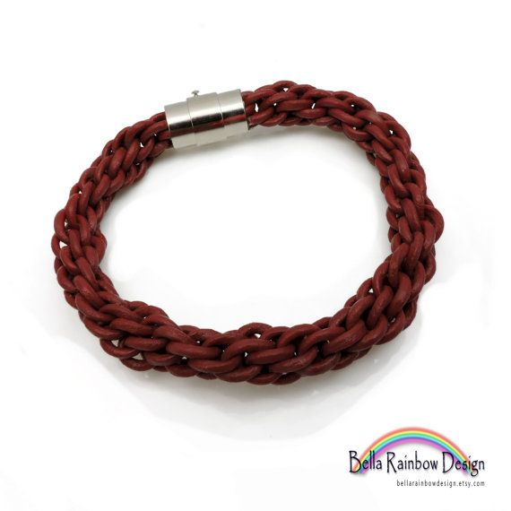 Red Leather Kumihimo Braided Bracelet with by BellaRainbowDesign
