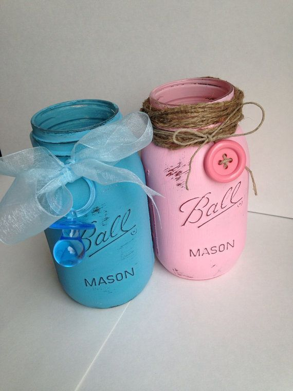 Boy Or Girl Baby Shower Mason Jars Mason Jar Centerpieces Baby Shower Mason Jar Baby Shower Diy Baby Shower Centerpieces