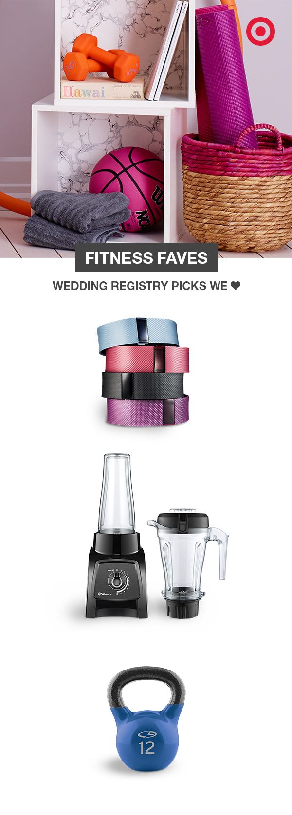 Keep an eye on each other's health with a Fitbit to track your steps, a kettlebell for toning those pecs and biceps, and a Vitamix to shake up your nutrition. You'll want it all on your Target Wedding registry.